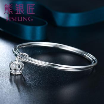 熊银匠银饰品银手镯波西米亚款日韩女款皇冠银镯子手环