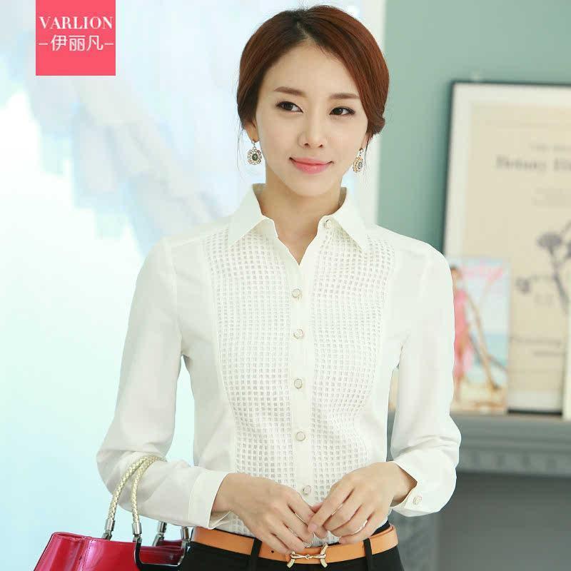 长袖衬衫女春款2015韩版格子白色优雅商务衬衣弹力面试通勤正装