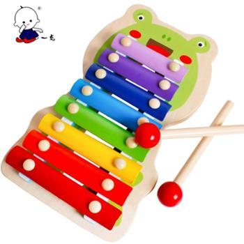 一点木制儿童玩具青蛙木琴