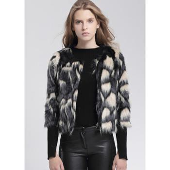尚蔓2014秋冬装新款仿皮草外套毛绒七分袖披肩圆领短外套海宁大衣