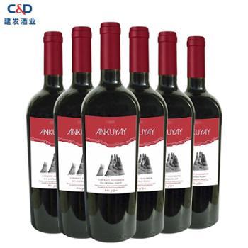 智利智利安轩红葡萄酒红酒750ml*6建发酒业