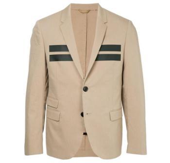 NeilBarrett尼奥贝奈特西装外套男士奢侈品条纹棉质西装夹克2064-DKBEIGE/BLK