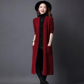 2017早秋新品韩版纯色长款长袖冰麻针织衫时尚气质开衫针织外套潮