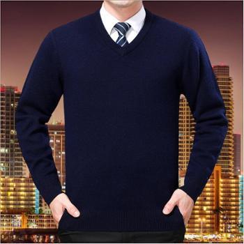 【新款包邮】寻爵 休闲羊毛衫男士2017冬季新款纯色V领毛衣男中年宽松羊绒衫男装上衣