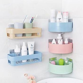 (日常生活家具家居生活用品)打孔卫生间置物架塑料厕所洗手间洗漱台三角吸盘壁挂浴室收纳架