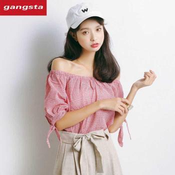【gangsta】2018女装夏季新款韩版时尚纯色五分袖一字肩格纹衬衫【千盛百货】M320