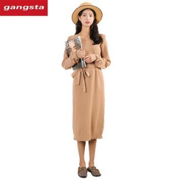 【gangsta】大码女装2018秋冬新款V领针织衫系带宽松毛衣裙【千盛百货】M685