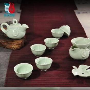 弘宝汝窑 玉质釉 玉质如意茶具十件套 礼盒包装