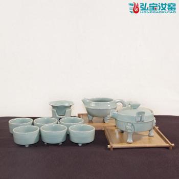 弘宝汝窑 粉青釉 问鼎十件套茶组套装 原产地汝瓷 匠心设计 礼盒包装