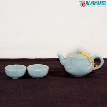 弘宝汝窑 粉青釉 包容一壶两杯茶组 礼盒包装