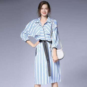 sandalling蓝白条纹系带收腰薄款风衣外套6301