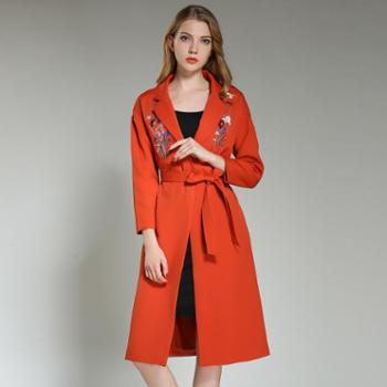 sandalling新款欧美精美刺绣修身风衣女外套6208