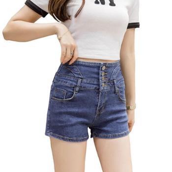 sandalling高腰排扣牛仔短裤1616