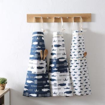 韩版棉麻无袖围裙防油清洁护衣厨房家居做饭男女可爱罩衣工作服