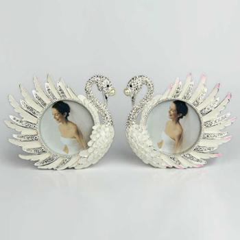 煌嘉工艺欧式客厅水晶天鹅摆件相框装饰品创意摆设结婚礼物婚庆礼品工艺品