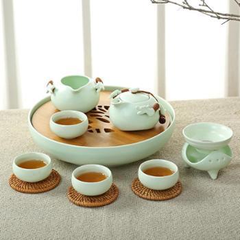 简约现代茶具套装家用中式功夫杯子喝茶的一套茶壶陶瓷整套荼具