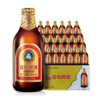 青岛啤酒金质小棕金11度296mlx24瓶整箱装