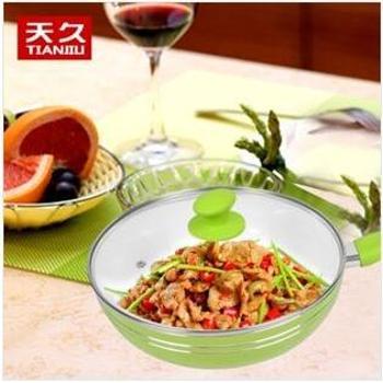 天久28cm复底健康炒锅陶瓷不粘锅无油烟厨房烹饪锅具炒菜