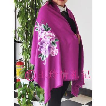 【绣花羊绒披肩】玉玲情礼记正品 羊绒披肩 双面绣花 高档披肩加宽加厚