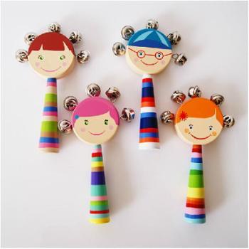儿童木质手摇铃奥尔夫乐器婴幼儿音乐认知益智木制玩具