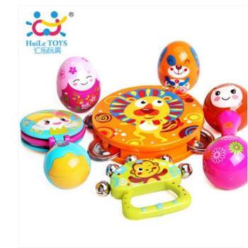 汇乐999彩绘奥尔夫乐器婴儿早教玩具新生儿摇铃手铃沙锤响板一件
