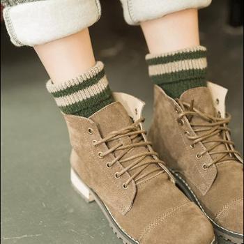 纯棉堆堆袜女秋冬款中筒袜韩版日系羊毛线长筒加厚韩国冬季潮袜子