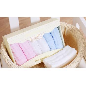 全棉时代纯棉婴儿纱布浴巾1条+新生儿手帕6条宝宝毛巾被洗澡巾