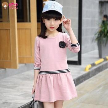 纳丁女童春装连衣裙新款童装儿童长袖裙子韩版休闲裙中大童公主裙