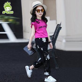 麦苗在成长女童夏装套装2017新款大童装夏季儿童运动休闲两件套韩版时尚潮衣