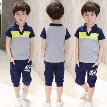 童装男童夏装套装2017新款中大儿童运动短袖7两件套9韩版潮衣10岁