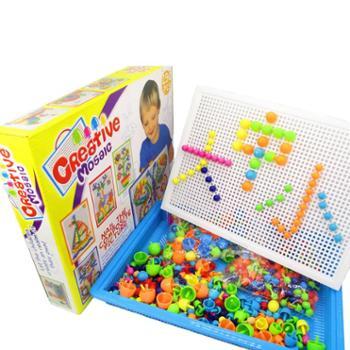 蘑菇钉拼图益智玩具组合蘑菇丁拼插板儿童幼儿园男孩大号3-4-6岁