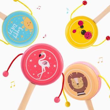 福孩儿 木制拨浪鼓 婴儿玩具1-3岁半10-12个月0男孩女宝宝安抚摇铃手摇鼓