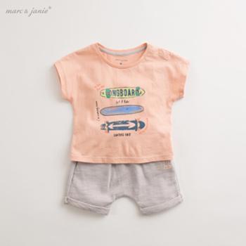 马克珍妮2019宝宝夏装童装男童儿童短袖套装 婴儿夏季套装