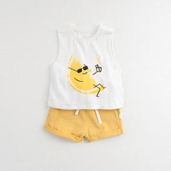 马克珍妮夏装男童纯棉背心短裤套装 婴儿宝宝套装