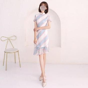 楼兰蝶新款女时尚短款甜美日常改良版礼服裙