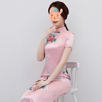 走秀旗袍新春款女长款短袖开叉复古舞台演出服