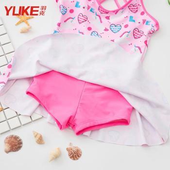 羽克 儿童泳衣女童韩版连体公主裙式宝宝可爱游泳衣女孩学生泡温泉泳装