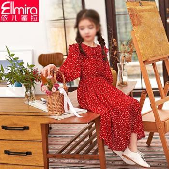 女童连衣裙儿童裙子红色雪纺长袖2019新款女大童女孩韩版洋气春装