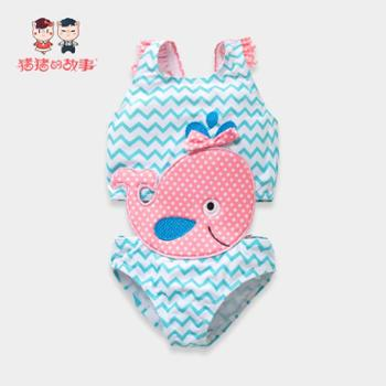 猪猪的故事 ins小童儿童泳衣防晒连体宝宝婴儿女童公主可爱温泉 婴幼儿游泳衣