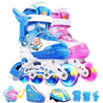 轮滑溜冰鞋儿童全套装初学者男女生旱冰滑轮鞋小孩直排轮男童女童