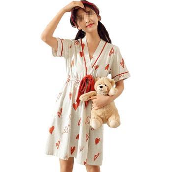 MOOLMEYNO/梦米诺 短袖睡裙夏女纯棉薄款睡衣夏季宽松孕妇大码连衣裙少女夏天家居服