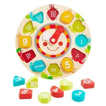 达拉 宝宝玩具益智女男孩字母形状认知时钟配对婴儿童积木