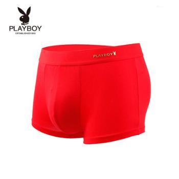 PLAYBOY/花花公子 本命年内裤男平角裤头青年大红结婚男士红内裤四角短裤