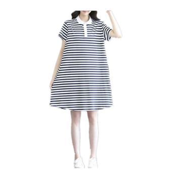 超显瘦 纯棉哺乳连衣裙新款夏天流行喂奶裙子宽松条纹时尚孕妇装