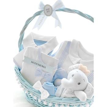 modomoma 新生儿用品婴儿礼盒夏季纯棉连体衣哈衣爬服套装满月送礼