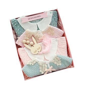 modomoma 新生儿用品婴儿礼盒女宝宝夏长袖连体衣哈衣套装满月送礼