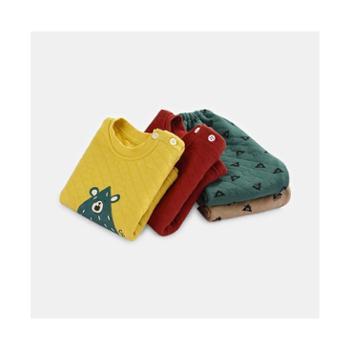 CICIIBEAR/齐齐熊 男女童秋冬新款夹丝保暖内衣套装婴儿宝宝加厚睡衣两件套