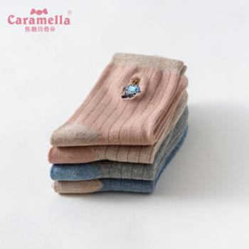 CARAMELLA 袜子女春秋小熊刺绣日系中筒袜可爱韩版卡通学院风