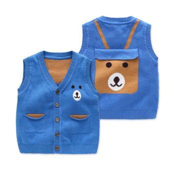 BORBOON/波步婴儿衣服新款秋装宝宝针织背心男儿童开衫马甲线衫婴幼儿