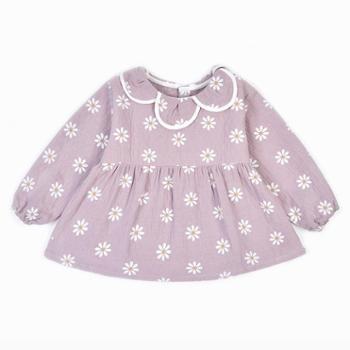 米豆酷尔 新款韩版花瓣领淑女婴儿外罩衣女宝宝公主防水吃饭衣围裙